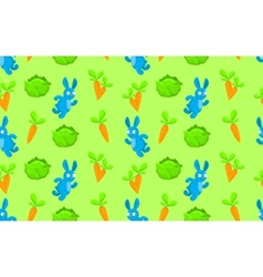 Pattern rabbit carrot and cabbage vector image