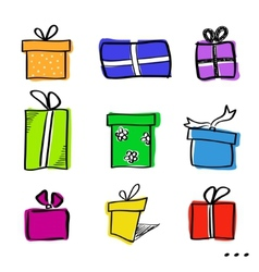 Sketch gift boxes set vector image vector image