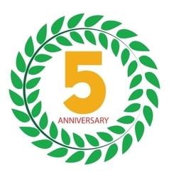 Template Logo 5 Anniversary in Laurel Wreath vector image vector image