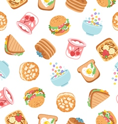 Breakfast seamless pattern vector image