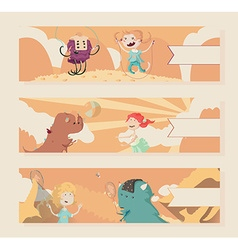 Horizontal warm banners with kids and monsters vector image