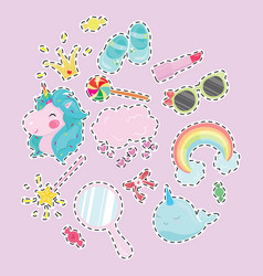 set for girl collection of vector image