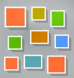 Blank color picture frame set on blured background vector image vector image