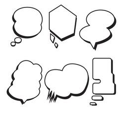 blank template comic text speech bubble set vector image