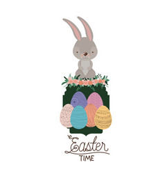 easter time frame with bunny on top and easter vector image vector image