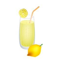 Glass of Lemon Juice and Fresh Lemons vector image