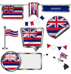 Glossy icons with Hawaiian flag vector image vector image
