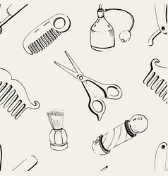 hand drawn barbershop seamless with accessories vector image vector image
