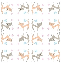 Seamless pattern of two different colored cats go vector image