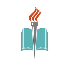 Book and torch education or library logo vector image