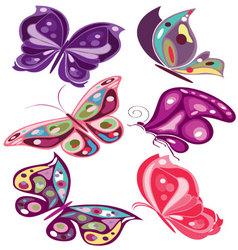 butterflies in diferents colors 2 vector image