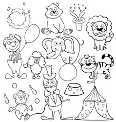 Coloring book with circus icons vector image