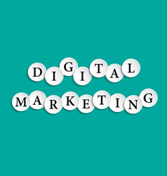 digital marketing inscription composed of paper vector image