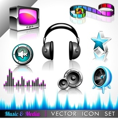 music and media icon collection vector image