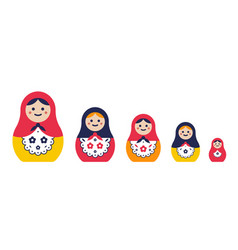 set of traditional nesting doll simple colorful vector image