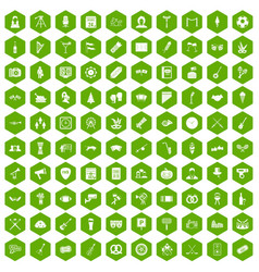 100 meeting icons hexagon green vector