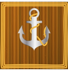 Anchor stencil on wooden background vector image