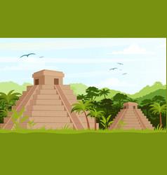 Ancient mayan pyramids vector