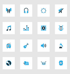 Audio colorful icons set collection of drum note vector