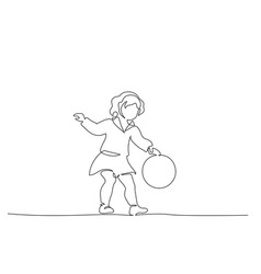 Baby girl playing with ball continuous one line vector