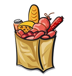 Bag with sausages vector