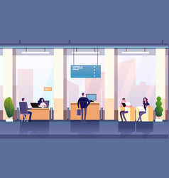 Bank office interior professional management vector