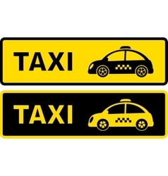 black and yellow retro taxi sign vector image