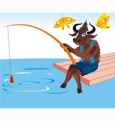 buffalo fishing vector image