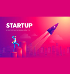 cartoon character businessman flying in startup vector image