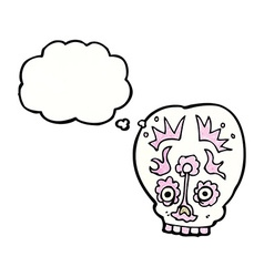 cartoon sugar skull with thought bubble vector image