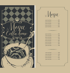 checkered menu for coffee house with price and cup vector image