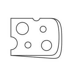 cheese slice icon in black flat outline design vector image