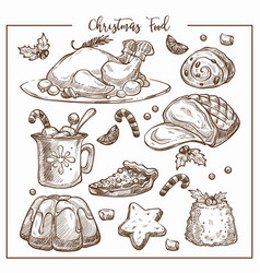christmas traditional dinner menu sketch vector image