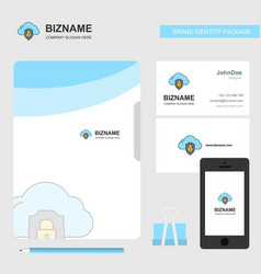 cloud protected business logo file cover visiting vector image
