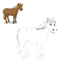 Connect dots game horse vector