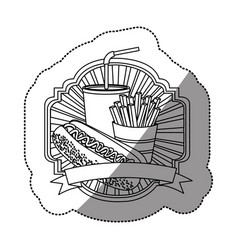 Contour emblem with hot dog fries french and soda vector