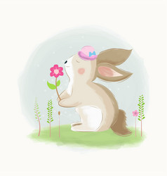 Cute rabbit found a flower vector