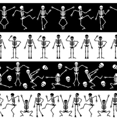 Dansing skeletons horizontal pattern vector image