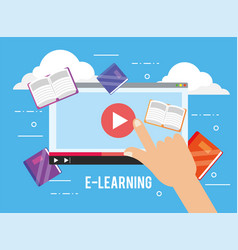 Digital website video and education books vector
