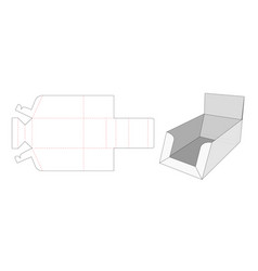 Display box die cut template design vector