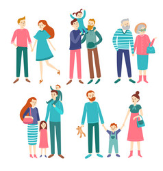 family couples father and mother with children vector image