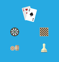 Flat icon entertainment set of chess table vector