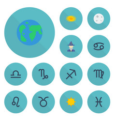 Flat icons bull earth planet solar and other vector