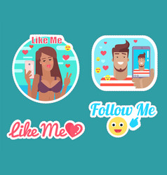 follow and like me bloggers male and female vector image