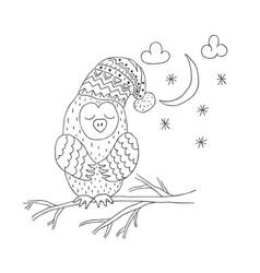 Funny owl nursery art minimalist scandinavian vector