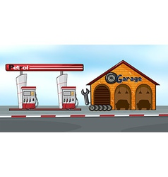 Gas station and garage vector