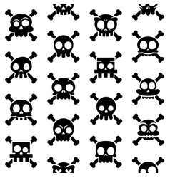 halloween cartoon skull seamless pattern vector image