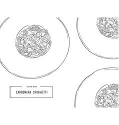 hand drawn carbonara spaghetti vector image