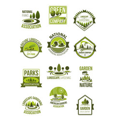 icons of nature landscape and green company vector image