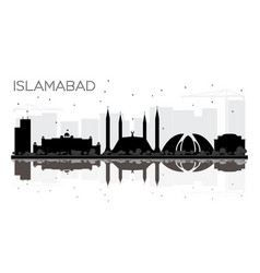 Islamabad pakistan city skyline black and white vector